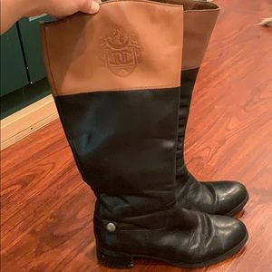 Etienne Aigner black and brown riding boots